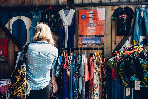 A shopper browses at Make Do and Mend