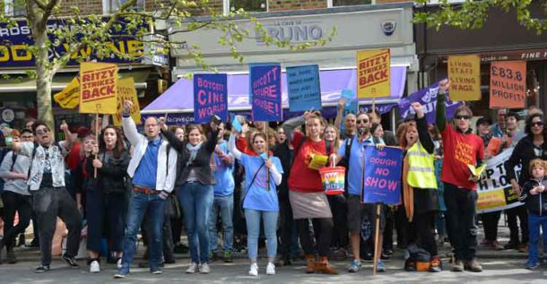 Ritzy workers joined a demonstration in April to welcome East Dulwich Picturehouse workers – the latest to join the living wage campaign