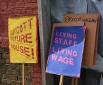 Ritzy living wage campaign placards