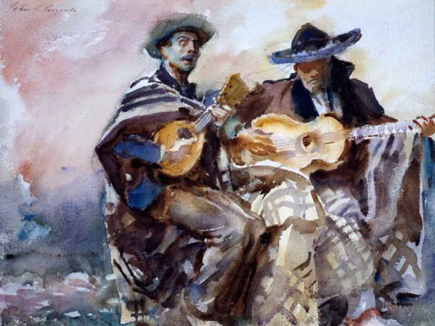 John Singer Sargent, Blind Musicians, 1912, watercolour on paper, on preliminary pencil, 39.4 x 53 cm, Aberdeen Art Gallery & Museums Collections. Purchased in 1927, half the auction price met by Sir James Murray