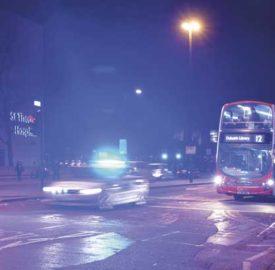 Police car in Brixton at night