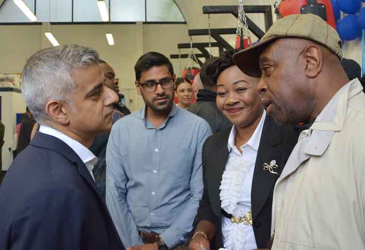 Lorraine Jones with London mayor Sadiq Khan at the launch of a knife crime initiative in Dwaynamics' Loughborough Junction arch premises