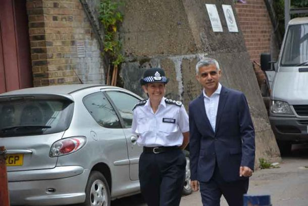 Mayor Sadiq Khan and Met commissioner Cressida Dick arrive at the Dwaynamics arch off Coldharbour Lane