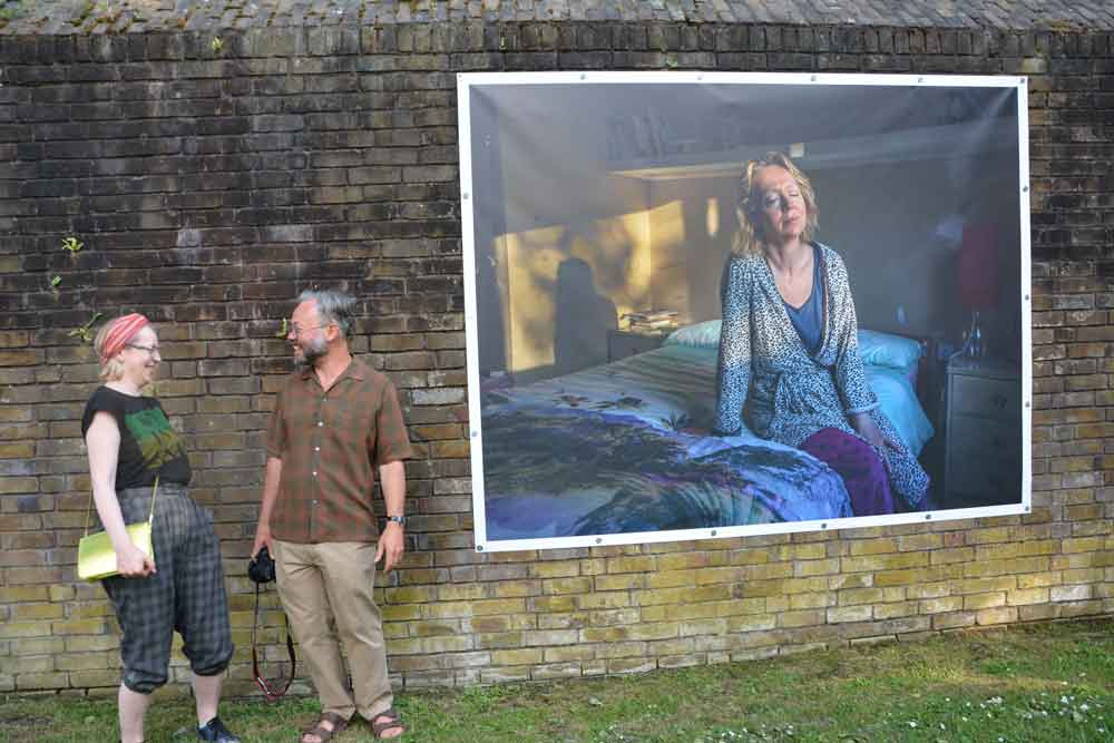 Mark with Helen Carr, and his portrait of her