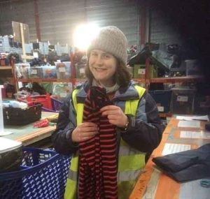 Verity Kirk volunteering at a Calais refugee camp