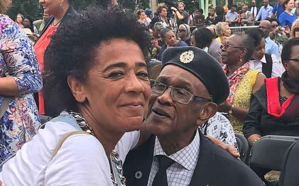 Delores Williams with Alan Wilmott at the ceremony to unveil the African Caribbean war memorial in Windrush Square