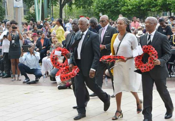Representatives of the many countries from which Black servicemen and women came laid wreaths