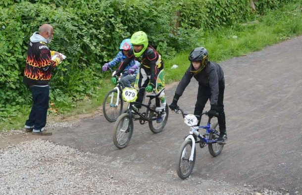 Close thing – Ken Floyde, Brixton BMX Club founder and secretary, keeps track of finishing positions