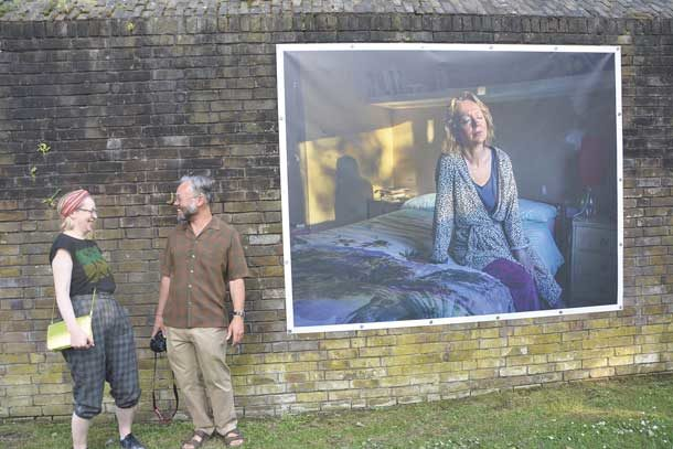 Cressingham Gardens Photo exhibition: Mark Aitken with Helen Carr and his portrait of her