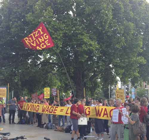 Ritzy staff protesting in Windrush Square after the sackings were announced