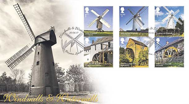 Special edition stamps of Windmills and Watermills issued by Royal Mail