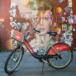 Santander bike in front of Bowie mural