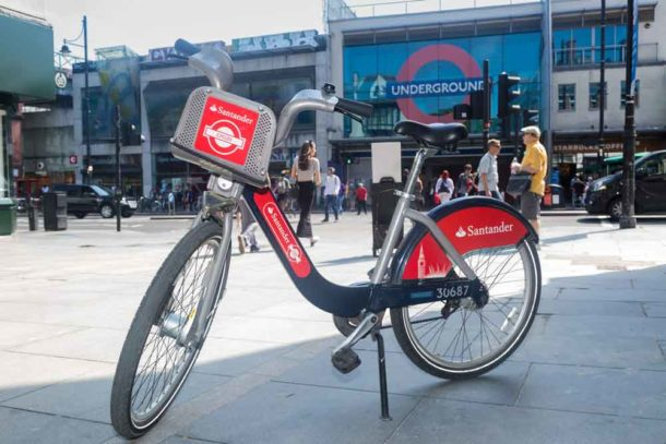 Santander cycle opposite Brixton Tube station