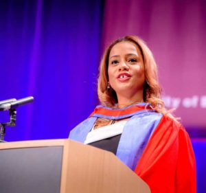 Miranda Brawn speaking to business school graduates at Brighton University
