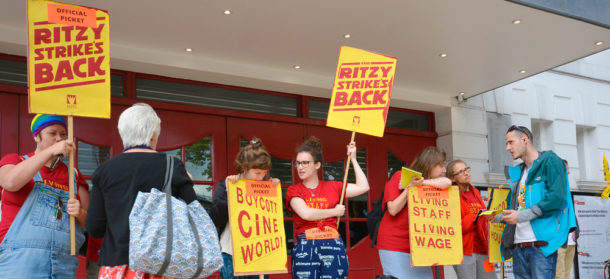 Ritzy pickets talk to passers-by yesterday