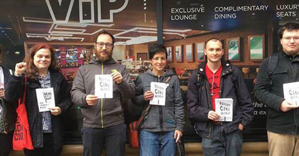 Glasgow Momentum supporters of the living wage campaign picket Cineworld in the city centre