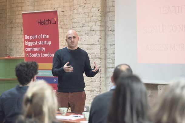 Jody VandenBurg pitches his business to Hatch dragons. Photo David Altabev