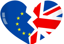 Logo with UK and EU flags in shape of broken heart