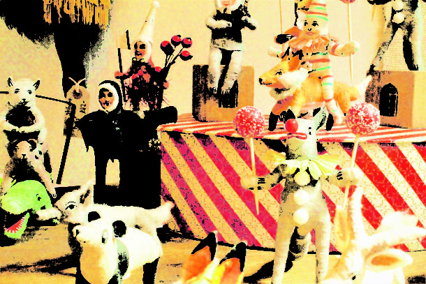 Circus animals part of display in Brixi shop