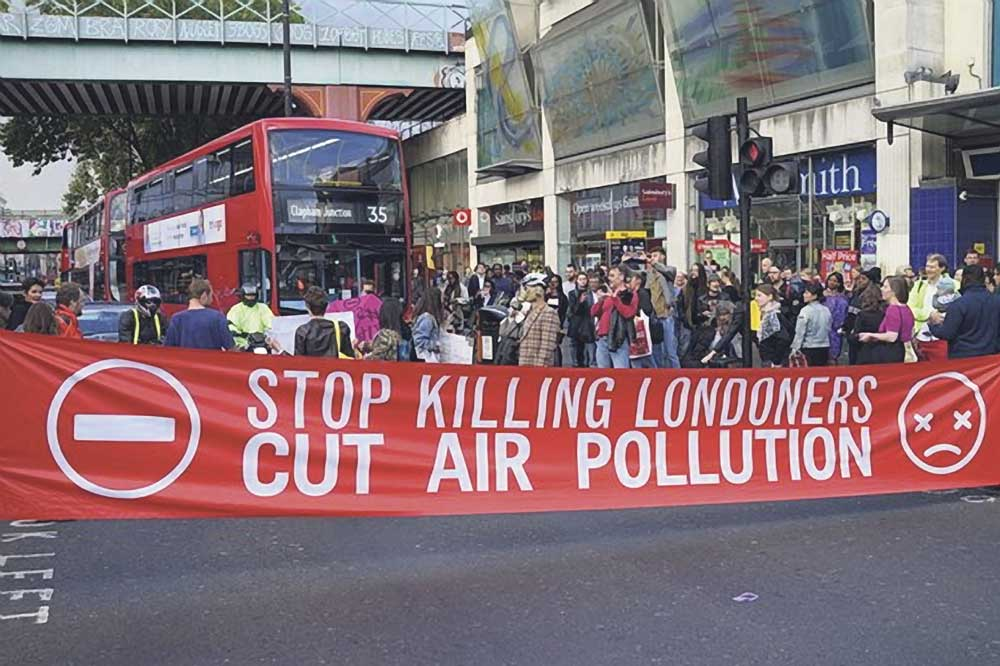 Pollution protest on major road