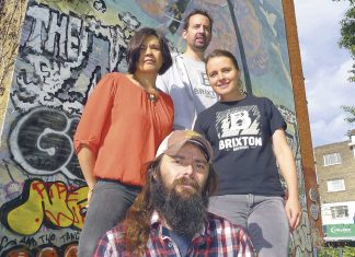 Brixton Brewery staff at Nuclear Dawn mural