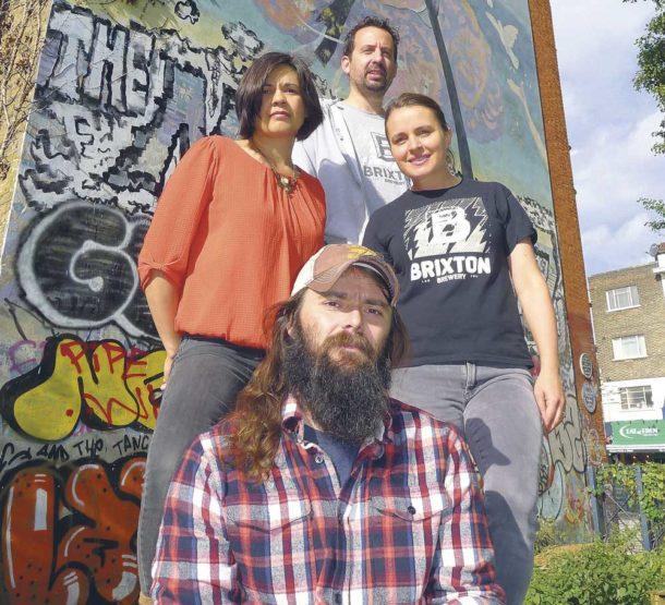Brixton Brewery staff at Nuclear Dawn mural