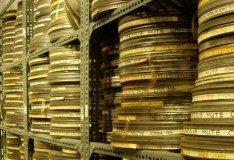 Stacks of old cinema reels