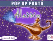 Sixteenfeet productions flyer for pop up panto Aladdin
