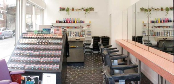 Interior of Brixon Bleach, a new hairdresser in Brixton