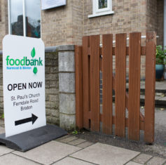 Foodbank sign showing it is open