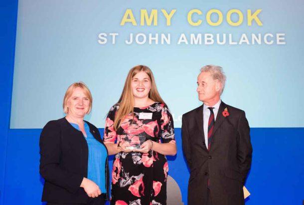 Amy Cook receives her award from Deputy Mayor Joanne McCartney