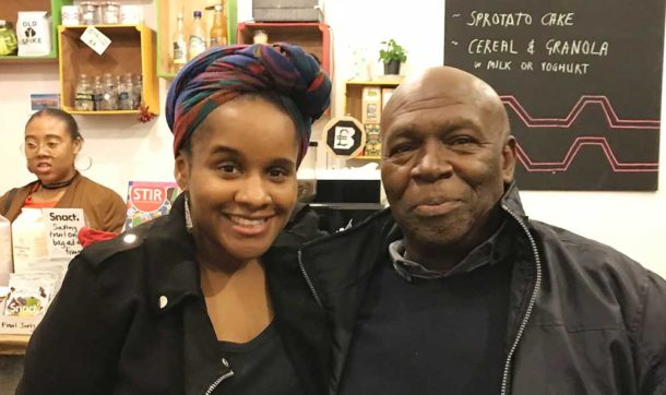 Zoié and father Wayne in the Brixton Pound cafe after the show