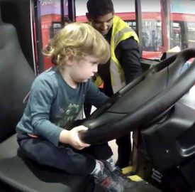 Learning how to drive a bus at the garage