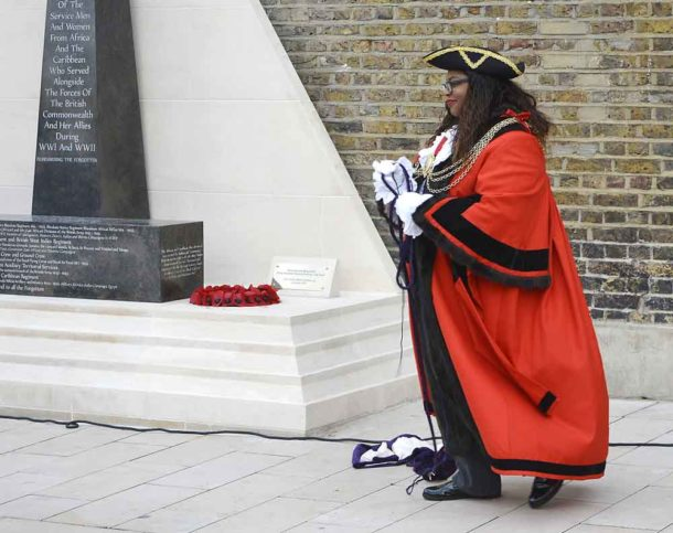 Lambeth mayor Marcia Cameron unveiled an addition to the memorial – a plaque detailing its design by Jak Beula and its unveiling by Major Larry Davis