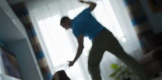 Posed domestic violence image