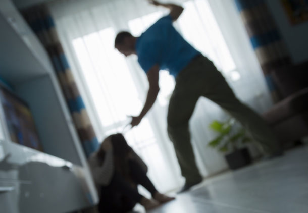 Posed domestic violence image