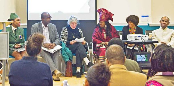 At the launch of the book Remembered in Brixton library