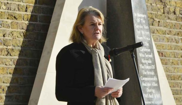 Council leader Lib Peace addresses the memorial meeting