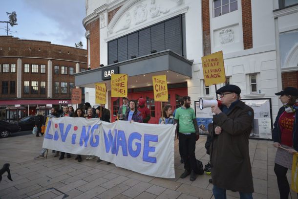 BECTU general secretary Gerry Morrissey addresses strikers and supporters at a recent strike by Ritzy workers