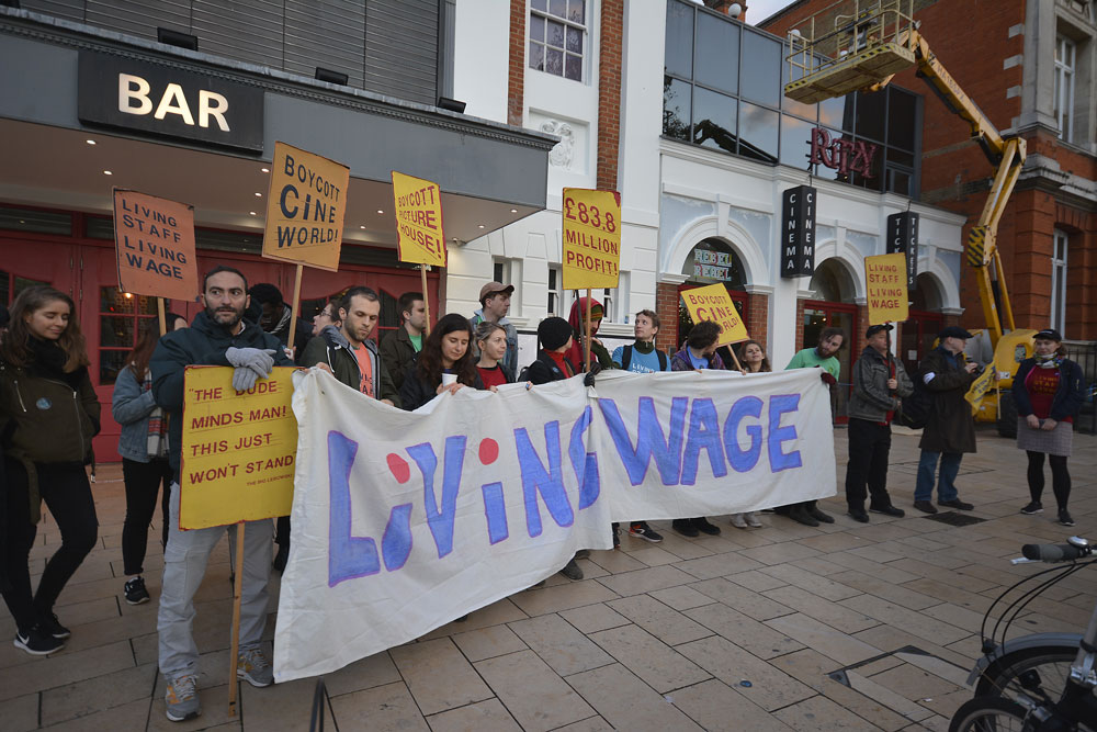 Ritzy campaigners outside the cinema,