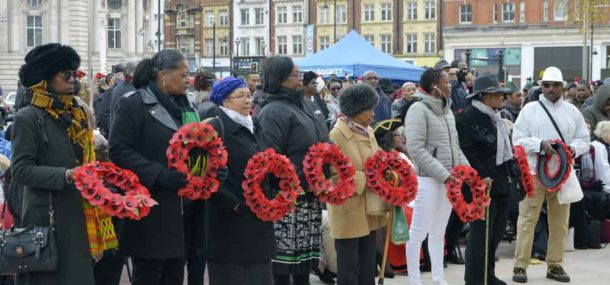 Waiting to lay wreaths
