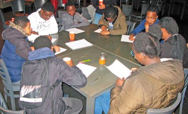 Young carers during a creative writing workshop