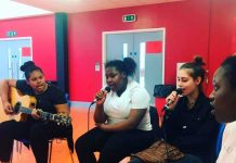 Young carers taking part in a Create music workshop