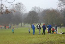Sunday football training in Brockwell Park