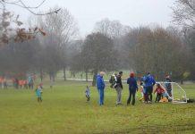 Sunday football training in Brockwell Park