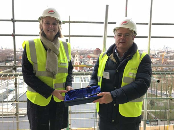 Cllrs Peck and McGlone at topping out ceremony