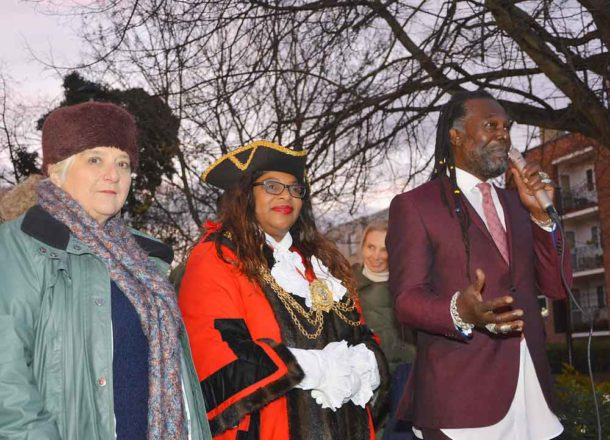Mary Atkins, Marcia Cameron and Levi Roots outside Tulse Hill Sainsbury's