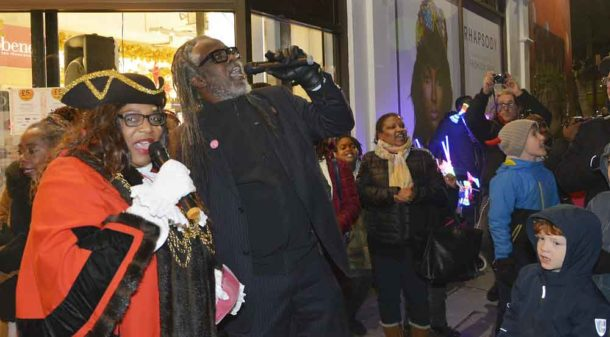 Mayor Cameron and Brixton Business Improvement District director Michael Smith count down to the switch on