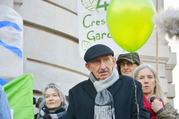 Cressingham garden residents including Michael O'Keefe (centre), who, with his wife Eileen, has lived there for 42 years
