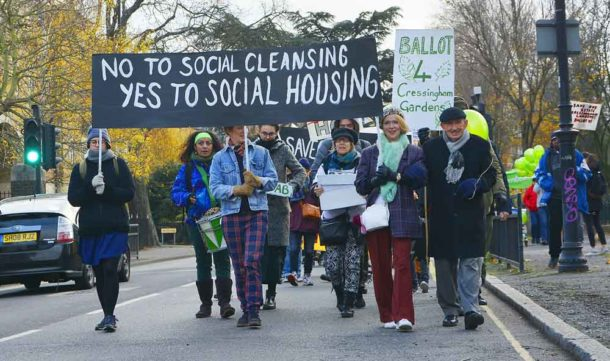 Cressingham protesters on Tulse Hill on their way to Lambeth town hall